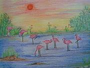 Flamingos Drawings - Flamingos At The Sunset by Nischitha Shenoy