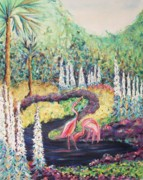 Leclair Prints - Flamingos in Florida Print by Suzanne  Marie Leclair