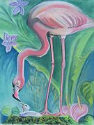 Flamingos Drawings - Flamingos by John Keaton