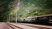 Bergen Posters - Flamsbana Rail Line Cars In Flaam Norway Poster by Loud Waterfall Photography Chelsea Sullens
