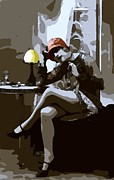 Bw Paintings - Flapper Girl 5 by Stefan Kuhn