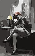 Bw Paintings - Flapper Girl by Stefan Kuhn