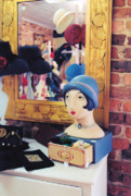 Blue Brick Prints - Flapper Hats Print by Jan Amiss Photography