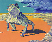 Green Pastels Posters - Flash Flood - Horny Toad Poster by Tracy L Teeter