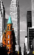 Old And New Photo Prints - Flat Iron Building Toronto Print by John  Bartosik