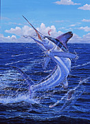 Black Marlin Framed Prints - Flat line Framed Print by Carey Chen