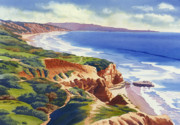 Rock  Painting Posters - Flat Rock and Bluffs at Torrey Pines Poster by Mary Helmreich