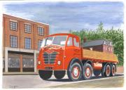 Brick Drawings Metal Prints - Flatbed Foden Metal Print by John Kinsley
