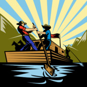 Mountain Men Prints - Flatboat Along River Print by Aloysius Patrimonio