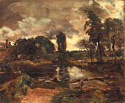 Thunderstorm Painting Framed Prints - Flatford Mill from the Lock Framed Print by John Constable