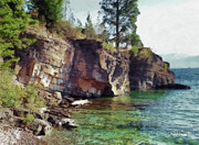 Montana Digital Art Originals - Flathead Lake - Shores Edge by Russ Harris