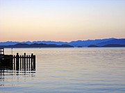 Flathead Lake At Dusk Print by Robert Meyers-Lussier