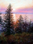 Mountains Pastels Framed Prints - Flathead Lake Framed Print by Mary Giacomini