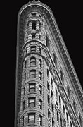 Black And White Digital Art Posters - Flatiron Building Poster by AdSpice Studios