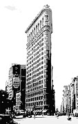 Built Digital Art Posters - Flatiron Building BW3 Poster by Scott Kelley
