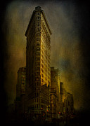 Nightlights Framed Prints - Flatiron Building...My View..revised Framed Print by Jeff Burgess