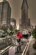 Daniel Posters - Flatiron in the rain Poster by David Bearden