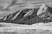 Colorado Framed Prints - Flatiron Morning Light Boulder Colorado BW Framed Print by James Bo Insogna