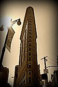 Flatiron Framed Prints - Flatiron Sepia Framed Print by Randy Aveille