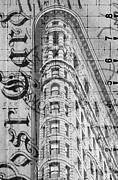 Skyscraper Mixed Media Posters - Flatiron Vintage Postcard Poster by Anahi DeCanio
