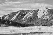 Flatirons Posters - Flatirons Boulder Colorado Black and White Photo Poster by James Bo Insogna