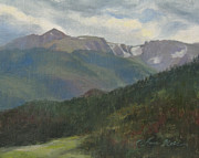Summit Painting Posters - Flattop Mountain Poster by Anna Bain