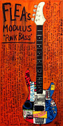 Red Hot Chili Peppers Paintings - Flea Modulus Punk Bass by Karl Haglund