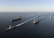 Usns Supply Posters - Fleet Of Navy Ships Transit The Arabian Poster by Stocktrek Images