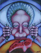 Surrealism Drawings Prints - Flesh Eater Print by Maryska Torresowa
