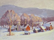 Berkshire Hills Posters Painting Originals - Fletcher Farm 2 by Len Stomski