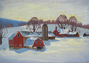Berkshire Hills Posters Paintings - Fletcher Farm by Len Stomski