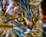 Marilyn Sholin Digital Art Prints - Fletcher Kitty Print by Marilyn Sholin