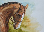 Watercolor. Equine. Bridle Paintings - Flex by Gretchen Bjornson