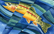 Golden Fish Painting Posters - Flickering Gold Poster by Mark Jennings