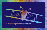 Planes Acrylic Prints - Flies Upside Down Acrylic Print by Jenny Armitage