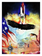 Plane Mixed Media Posters - Flight Poster by Anthony Burks