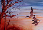 Ducks Paintings - Flight At Sunset by Carmen Del Valle