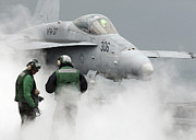 F-18 Prints - Flight Deck Personnel Are Surrounded Print by Stocktrek Images