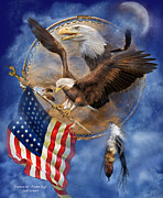 American Flag Mixed Media Prints - Flight For Freedom Print by Carol Cavalaris