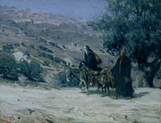 Egypt Framed Prints - Flight into Egypt Framed Print by Henry Ossawa Tanner