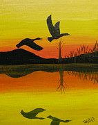 Canadian Geese Painting Posters - Flight of Freedom Poster by Doug Wilkie