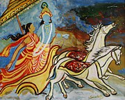 Acrylics Painting Prints - Flight of Rukmini with Krishna Print by Anand Swaroop Manchiraju