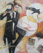 Player Painting Originals - Flight of the Crow - Jester Playing a Flute by Susanne Clark