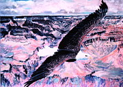 Storms Pastels Framed Prints - Flight Of The Eagle Framed Print by M Diane Bonaparte