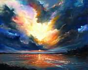 Sunset Seascape Pastels Posters - Flight of the Fenix Poster by Roman Burgan