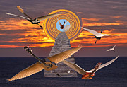 Greece Mixed Media Prints - Flight Of The Guitars Print by Eric Kempson