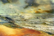 Seascape Mixed Media - Flight of the seagulls by Anne Weirich