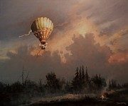 Hot Air Balloon Painting Posters - Flight of the Swan 3 Poster by Tom Shropshire