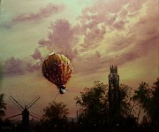 Hot Air Balloon Painting Posters - Flight of the Swan Poster by Tom Shropshire