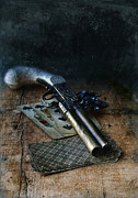 Fire Arm Prints - Flint Lock Pistol and Playing Cards Print by Jill Battaglia